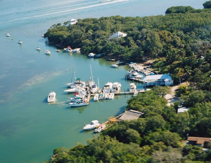 Aerial view of Cabbage Key, Florida. Fred Mays photos.