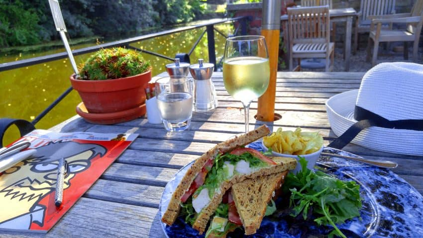 Lunch on the terrace by the Castle House Moat, Hereford.
