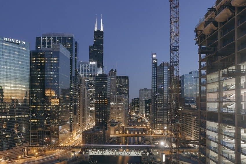Chicago Illinois at night.