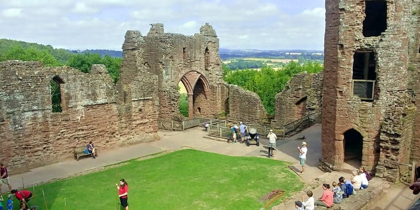 Goodrich Castle courtyard overlooking the Wye Valley, Herefordshire.