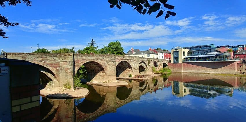 The Roman Bridge over the River Wye, Hereford.