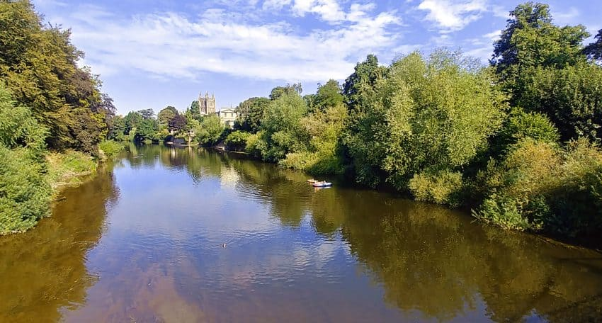 The River Wye and Hereford Cathedral in the distance