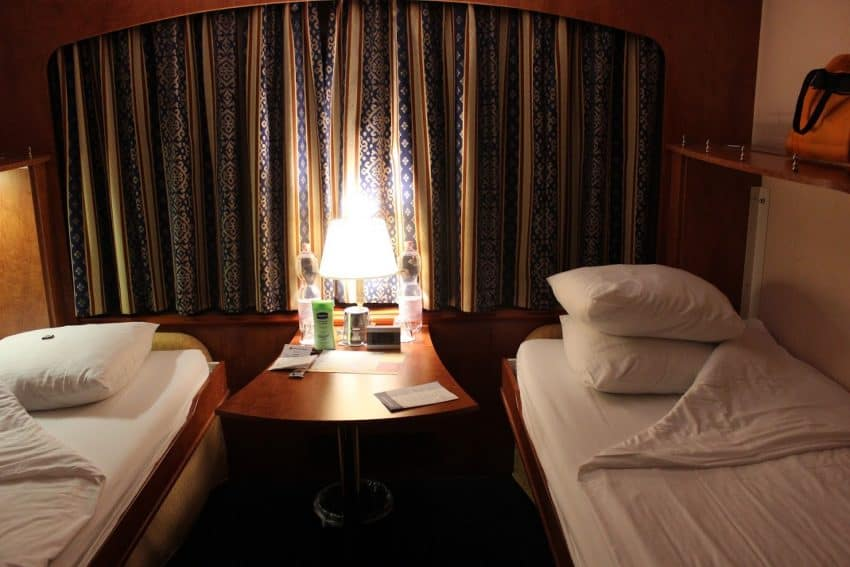 Stateroom aboard the River Rhapsody, a Grand Circle Cruise ship on the Rhine.