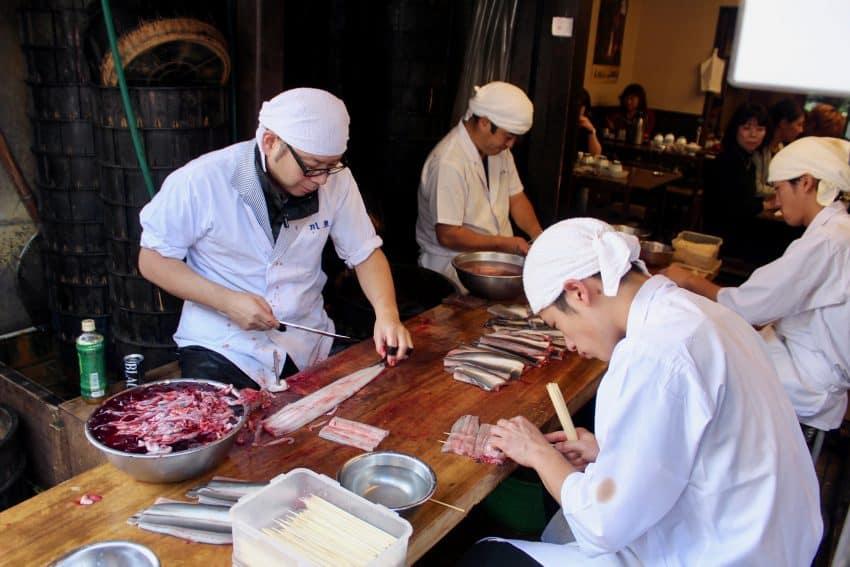 unagi filet crew Japanese fun Kawatoya Honten, Narita Japan. Kurt Jacobson photos.