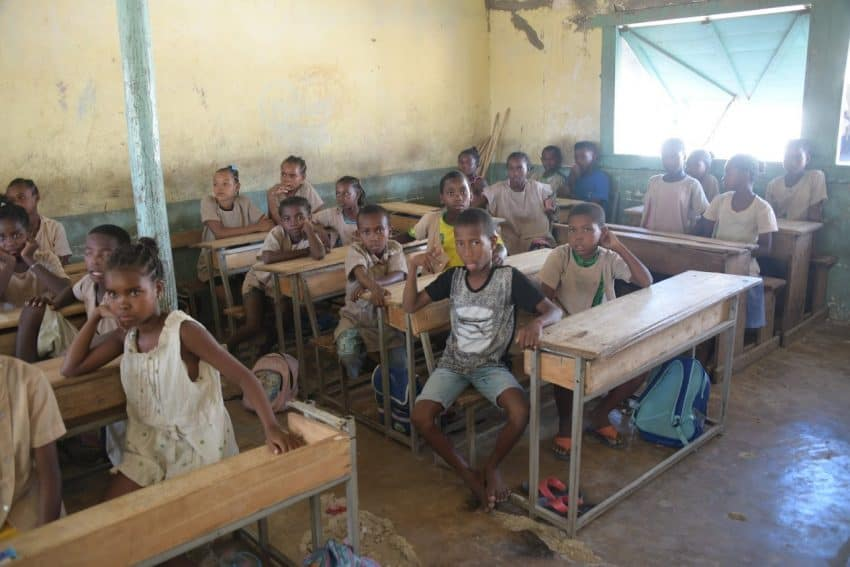 Local children in a Madagascar classroom.