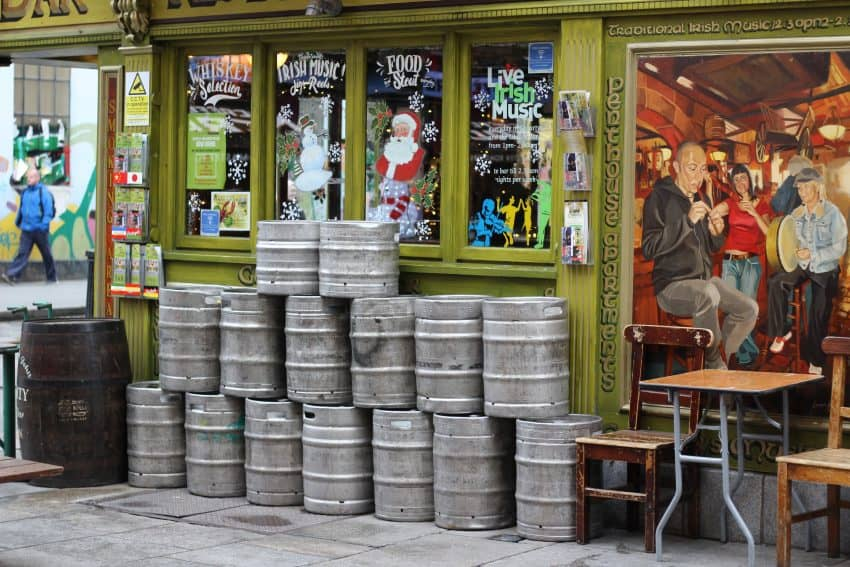 Kegs sit on the street corner in Temple Bar.
