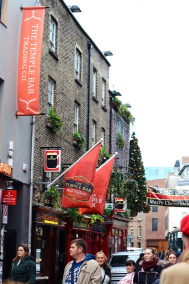 In the hub of Temple Bar during Christmas time.