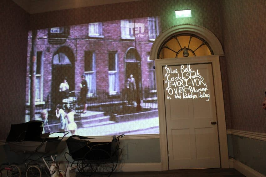 Inside the Henrietta House. A video display of the history and residents of the home.