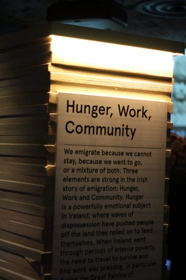 The exhibit room for Hunger, Work, Community, at the Epic Museum.