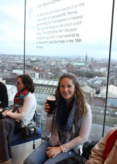 Enjoying a beer at Gravity Bar, on the top floor of the Guinness Storehouse.