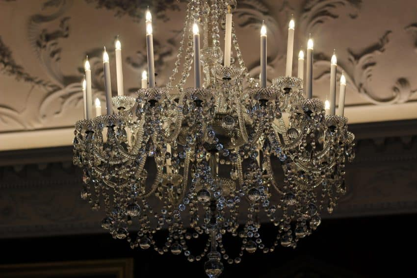 A crystal chandelier in the historic Russborough House.