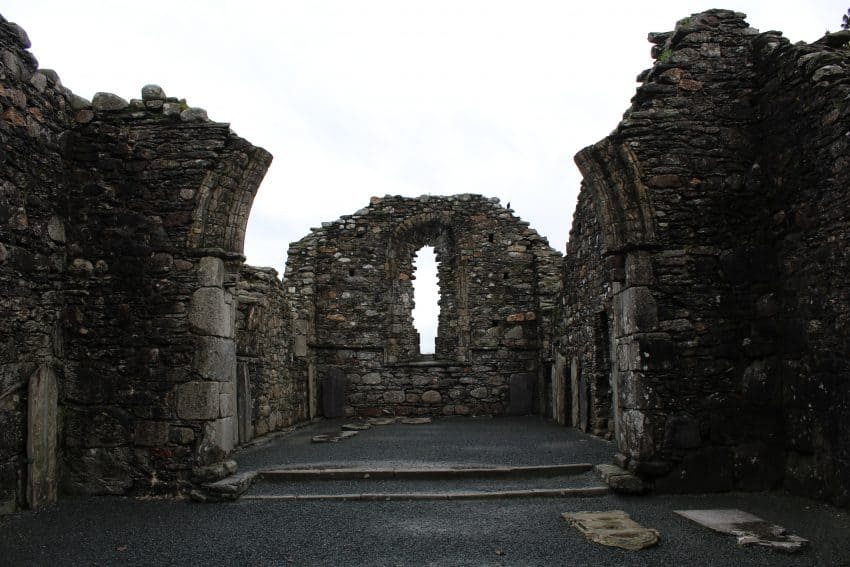 An old monastery at Glendalough, founded by St. Kevin in the 6th century.