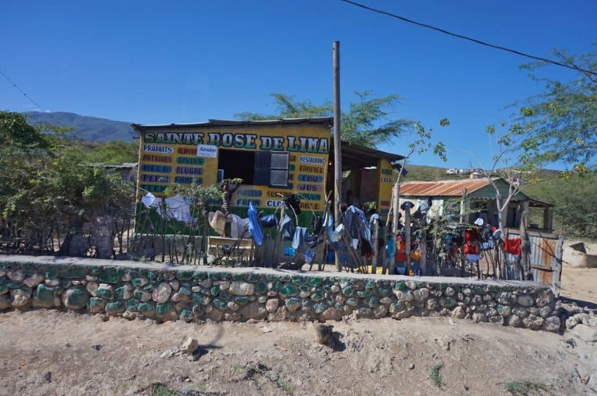 A typical shack store on the road in Haiti.