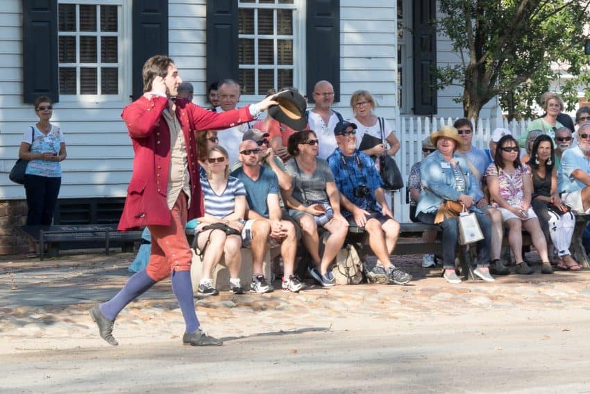 Street debates keep everyone in character as they discuss the issues of 1781 in front of tourists.