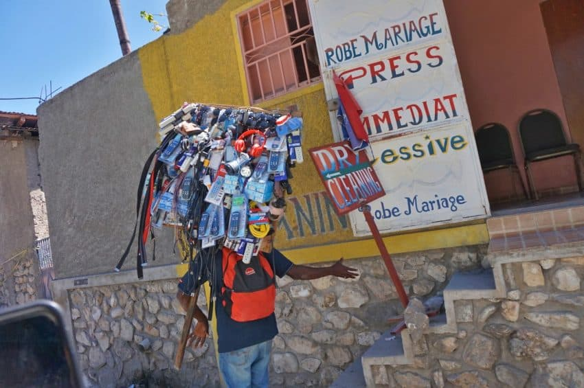 A street vendor selling all manner of goods in Haiti.