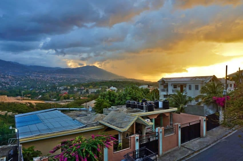 Rainy sunset over Port-au-Prince, view from Muhammad's house in Haiti.