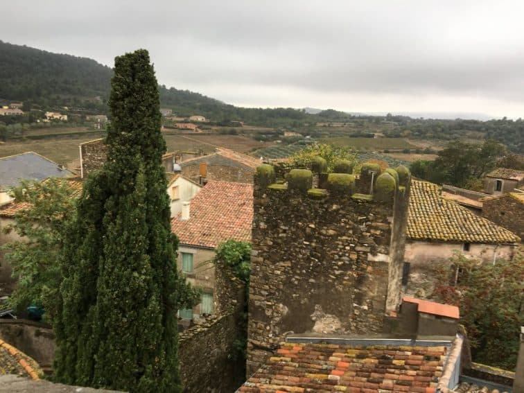 From the roof of the guard tower, you can see the surrounding farms and villages.