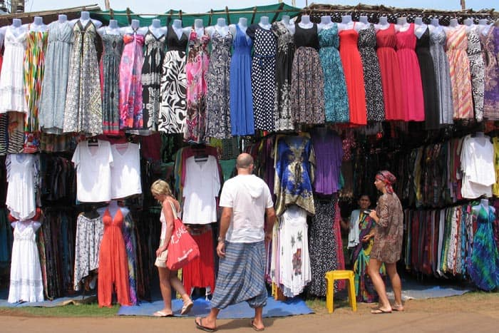 Shopping at the Wednesday market in Anjuna, Goa, India
