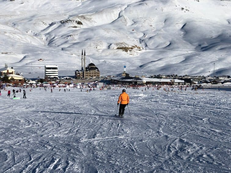 Skiing the main run at Mount Erciyes in Central Turkey. You aim for the mosque to find the lodge. Max Hartshorne photos.
