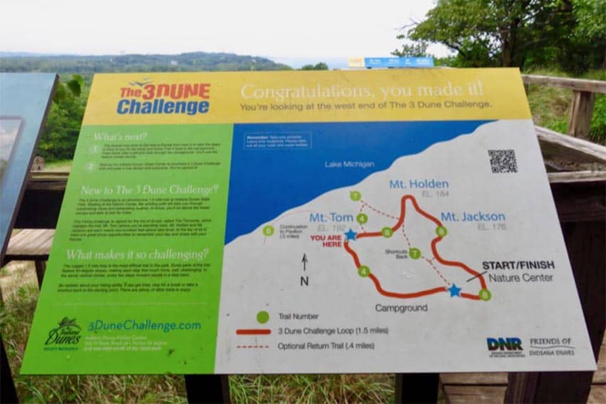 The Three Dune Challenge is a 1.5-mile trail including the toughest dune in the park with a 552 vertical foot climb.