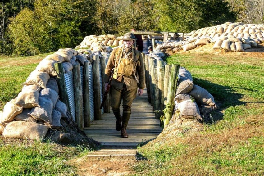 Joseph Gamble explains what trench warfare was like in World War I at the Museum in Pall Mall Tennessee. Jackie Sheckler Finch photos.