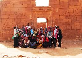 A group of female Sudanese students.