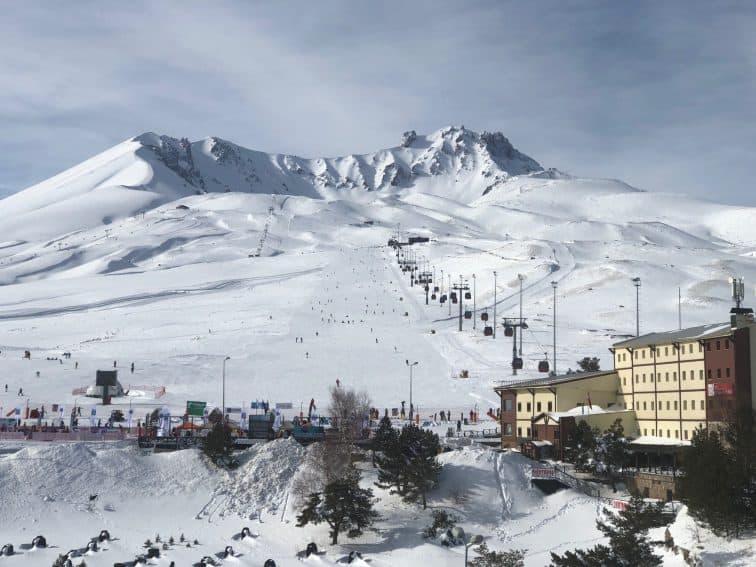 Treeless Mount Erciyes is an extinct volcano with an elevation of 12,818 feet near Kayseri Turkey.