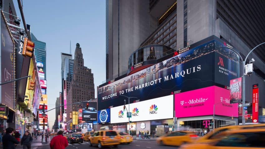 Step out of the Marriott Marquis and you're right in the heart of Times Square. Watch out for the Naked Cowboy!