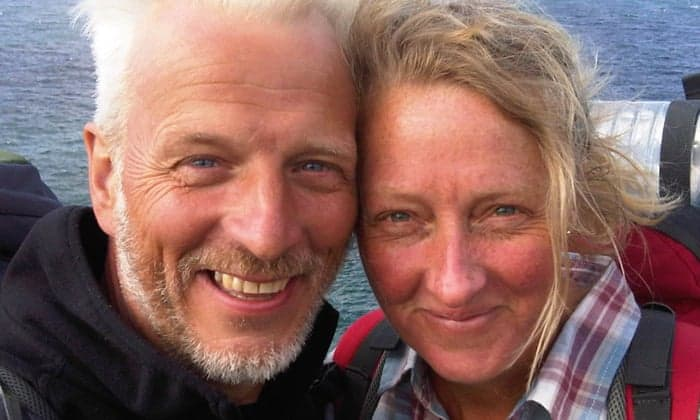 Raynor Winn and her husband, Moth during their South West Coast Path adventure.