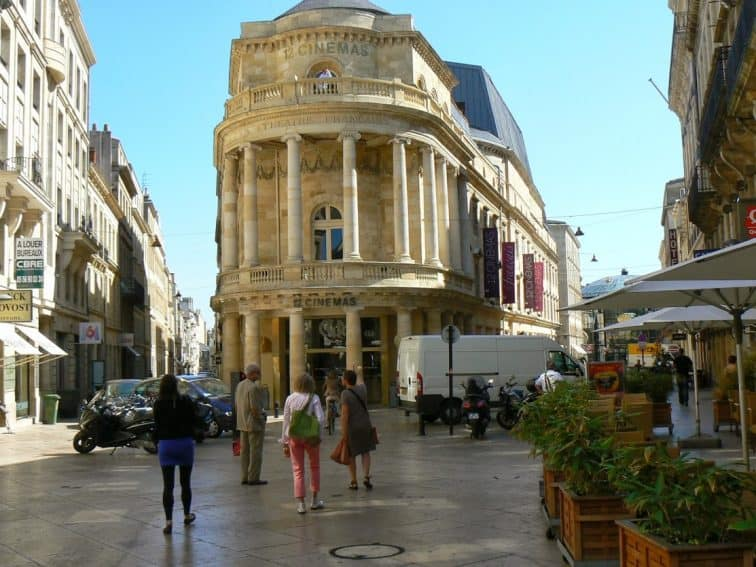 Downtown Bordeaux France has been spruced up with the limestone of old buildings restored to their shiny glory. Max Hartshorne photo.