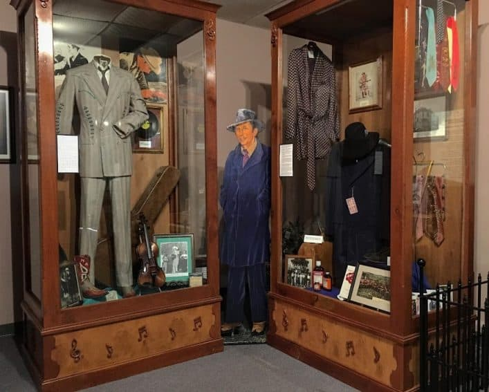 Clothing worn by Hank Williams is displayed at the museum.