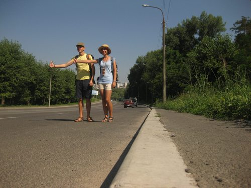 Anna and Bogdan, a hitch hiking couple from the Ukraine