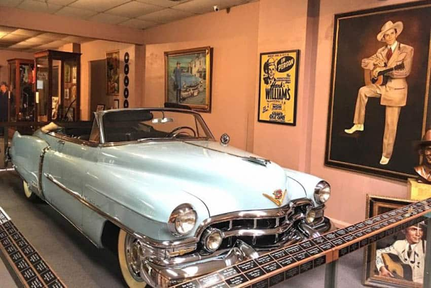 The Cadillac where Hank Williams died is on display in the Hank Williams Museum in Montgomery Alabama.