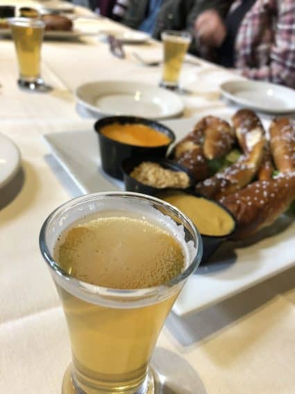 Beers and fresh pretzels enjoyed at the Albany Pump Station, one of the stops along the food tour.