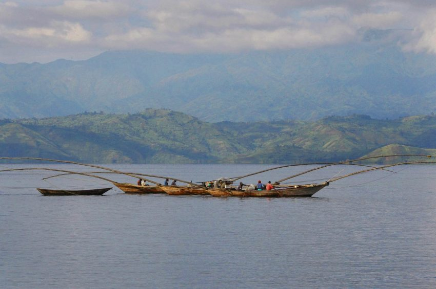 Many visitors try boating or fishing on Kivu Lake.