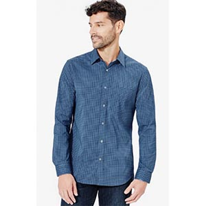 Meridian dress shirt Deep blue mini check by Bluffworks