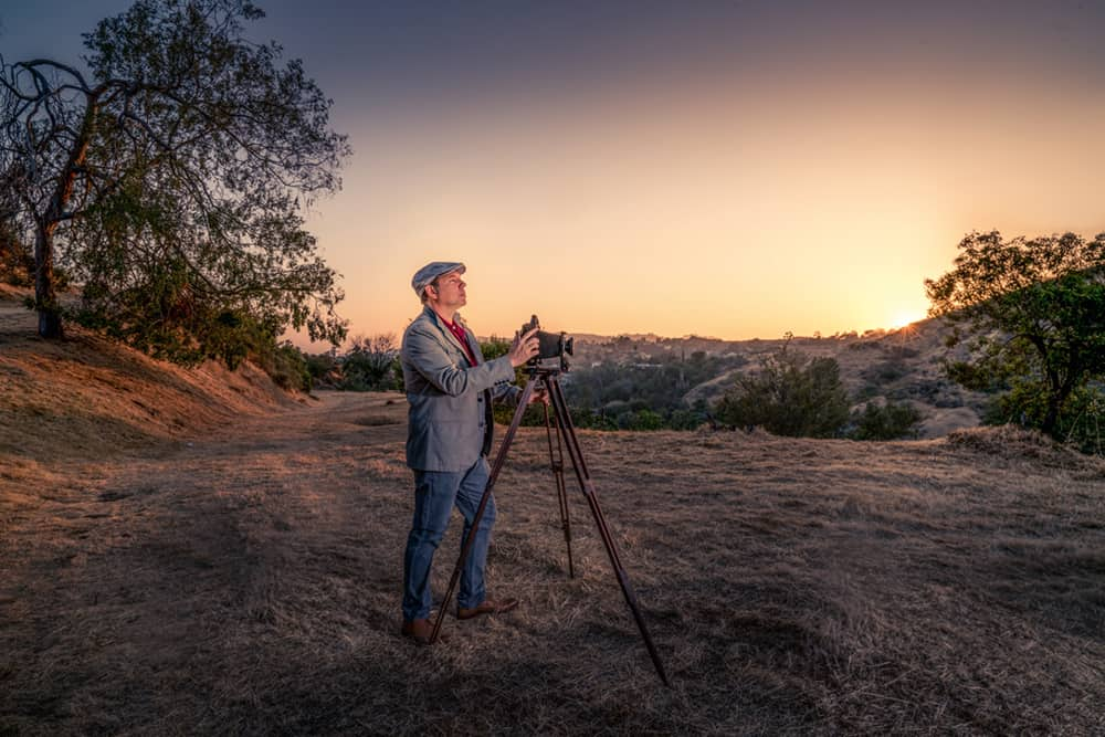 French photographer Serge Ramelli with his large format camera on assignment.