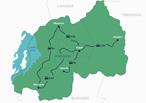 Rwanda is small in size, making it easy to travel around the country in a short amount of time.