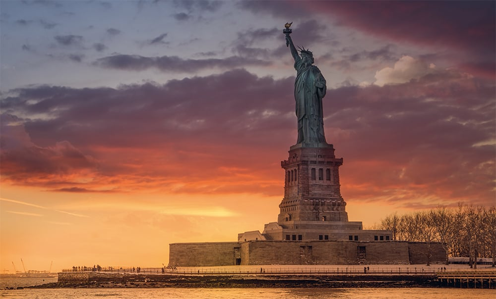 Viewing the statue from Brooklyn at sunset is an incredibly beautiful sight.