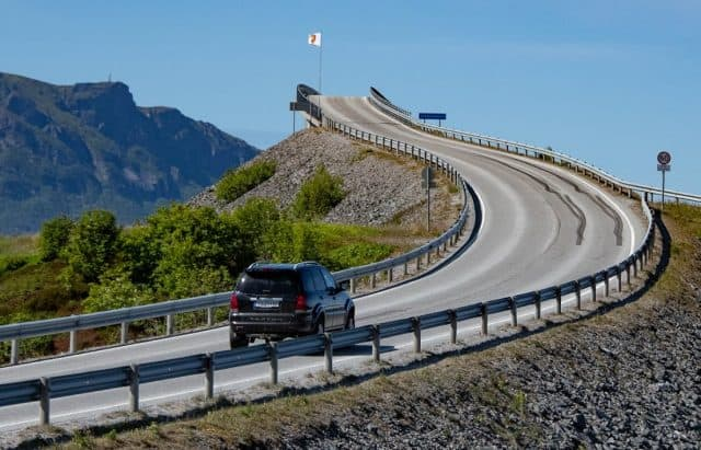 The Storseisundet Bridge is the longest of the eight bridges on the Atlantic Road and initially has the appearance of heading straight up to nowhere.