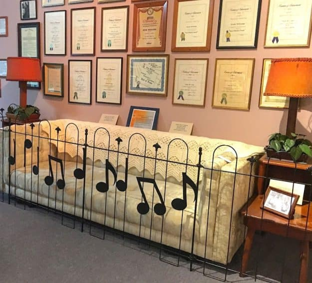 Inside the museum are many framed awards and other Hank Williams memorabilia.