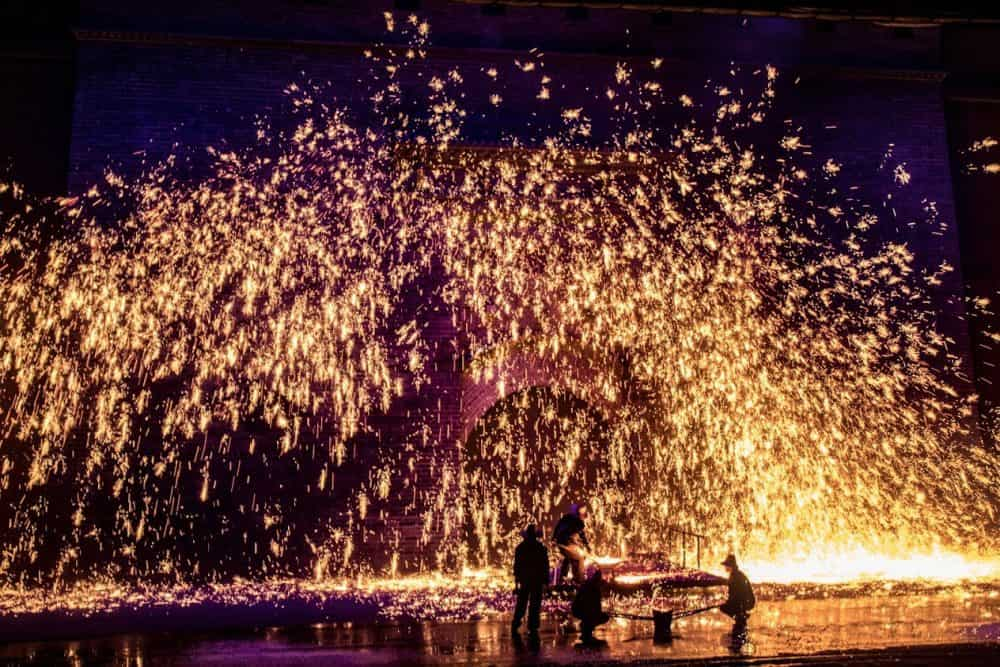 Naunquan, China has Fireworks of Molten Iron