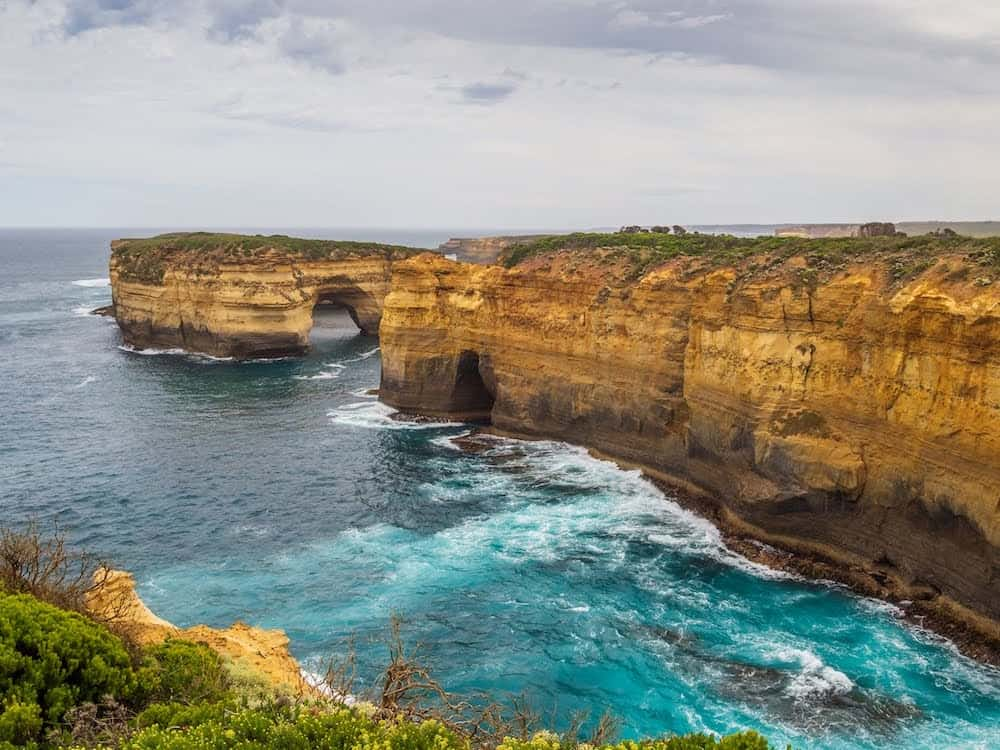 Side view of Loch Ard Gorge at Port Campbell National Park, Victoria Australia.