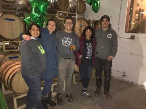 Part of the Nine Pin team; Alejandro (the founder) all the way to the right, with Sonya (Alejandros mother) standing next time hime, Josh, Josh's fiancé and Joshs' mother.