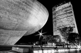 A night view of the side of the Egg and the Empire Plaza. The underground passage ways also lead to the state capital.