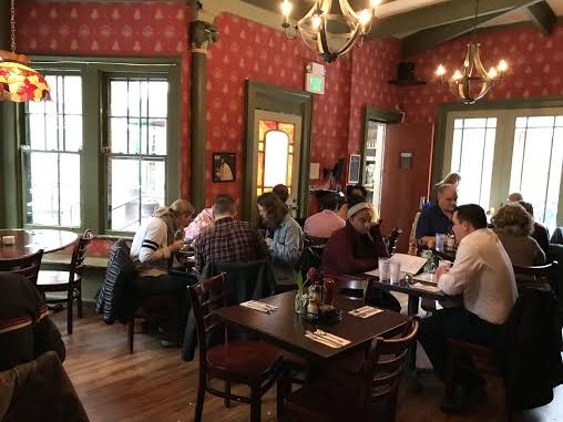 The dining room of the Iron Gate Cafe in Albany. The menu changes regularly, offering endless options.