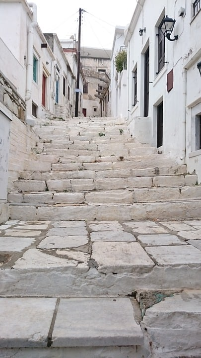 Ancient marble stairs in Naxos, Greece.