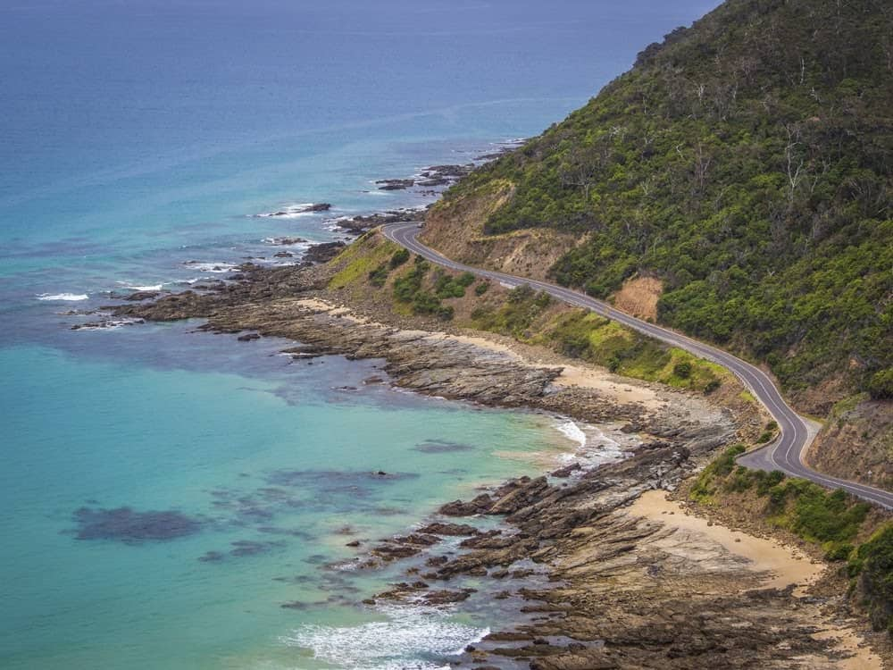 View of the Great Ocean Road from Teddy's Lookout in Otway National Park at Lorne, Australia.