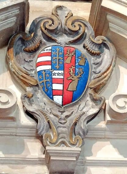 American President George Washington's family crest in All Saints Church in the Cotswolds