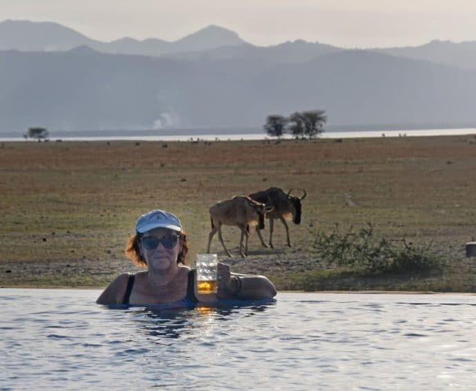 The Maramboi Tented Lodge infinity pool complete with wildebeests and local lager